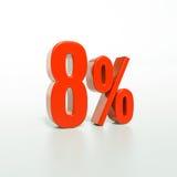 Sinal de porcentagem, 8 por cento Imagem de Stock Royalty Free