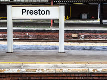 Sinal de Preston Railway Station Imagem de Stock Royalty Free