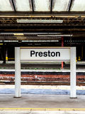 Sinal de Preston Railway Station Foto de Stock