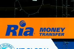 Sinal de Ria Money Transfer Fotografia de Stock Royalty Free