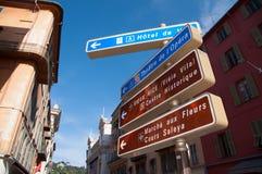 Sinal de rua agradável, França Imagens de Stock Royalty Free