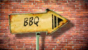 Sinal de rua ao BBQ fotografia de stock royalty free