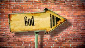 Sinal de rua ao deus imagens de stock royalty free