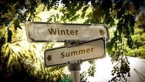 Sinal de rua ao inverno contra o ver?o imagens de stock royalty free
