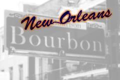 Sinal de rua de Bourbon, Nova Orleães fotografia de stock