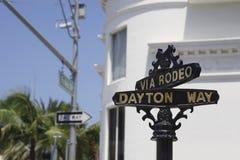 Sinal de rua clássico da movimentação do rodeio, Beverly Hill Fotografia de Stock Royalty Free