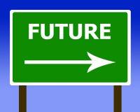 Sinal de rua da estrada do sentido futuro e o céu Imagens de Stock