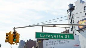 Sinal de rua de Lafayette no Canal Street em Manhattan Foto de Stock