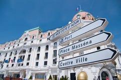 Sinal de rua de Promenade des Anglais fotografia de stock