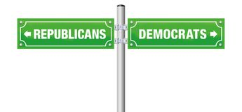 Sinal de rua de Democratas dos republicanos ilustração royalty free
