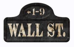 Sinal de rua do vintage de Wall Street New York City retro imagem de stock