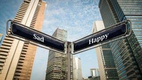 Sinal de rua a feliz contra triste imagens de stock