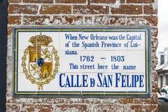 Sinal de rua histórico de Philip San Felipe de Saint fotografia de stock