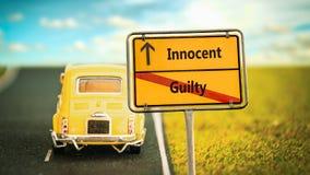 Sinal de rua inocente contra culpado imagem de stock royalty free