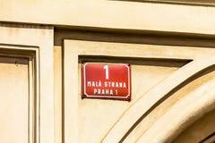 Sinal de rua, Praga, Mala Strana Imagens de Stock