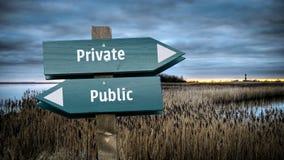Sinal de rua privado contra p?blico fotos de stock royalty free