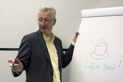 Sinal de ruptura do homem e do café Imagem de Stock Royalty Free