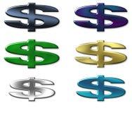 Sinal de seis dólares da cor Imagem de Stock
