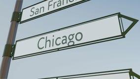 Sinal de sentido de Chicago no letreiro da estrada com subtítulos americanos das cidades Rendição 3d conceptual Imagem de Stock