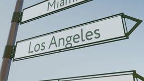 Sinal de sentido de Los Angeles no letreiro da estrada com subtítulos americanos das cidades Rendição 3d conceptual Fotos de Stock Royalty Free
