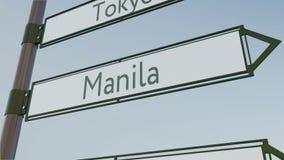 Sinal de sentido de Manila no letreiro da estrada com subtítulos asiáticos das cidades Rendição 3d conceptual Fotografia de Stock Royalty Free