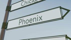 Sinal de sentido de Phoenix no letreiro da estrada com subtítulos americanos das cidades Rendição 3d conceptual Imagem de Stock