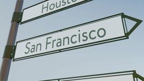 Sinal de sentido de San Francisco no letreiro da estrada com subtítulos americanos das cidades Rendição 3d conceptual Imagens de Stock