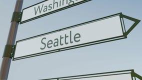 Sinal de sentido de Seattle no letreiro da estrada com subtítulos americanos das cidades Rendição 3d conceptual Imagens de Stock