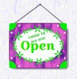 Sinal de suspensão da madeira violeta e da flor verde com o texto entrado, nós com referência a aberto Caixa branca da beira Ilus ilustração royalty free