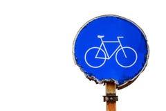 Sinal de tráfego da bicicleta no fundo branco Fotos de Stock