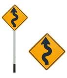 Sinal de tráfego da maneira da curva Fotografia de Stock Royalty Free