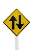 Sinal de tráfego em dois sentidos Fotografia de Stock