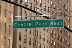 Sinal de tráfego ocidental de Central Park Fotografia de Stock Royalty Free