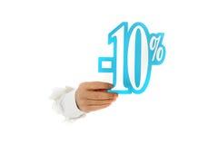 Sinal de um disconto de dez por cento, mão. Fotos de Stock Royalty Free