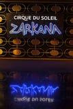 Sinal de Zarkana na ária em Las Vegas, nanovolt o 6 de agosto de 2013 Foto de Stock