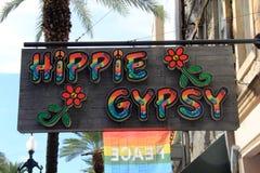 sinal deagarramento para o cigano da hippie, Nova Orleães do centro, 2016 fotografia de stock