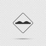 sinal desigual da superfície de estrada do símbolo no fundo transparente ilustração stock