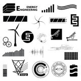 Sinal diferente ajustado da tecnologia e da energia Ícones e symbo simples Imagem de Stock