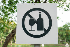 Sinal do álcool não bebendo fotografia de stock