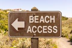 Sinal do acesso da praia Imagens de Stock
