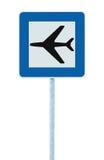 Sinal do aeroporto, signage do ícone do avião do tráfego rodoviário e cargo isolados azul do polo do letreiro, grande close up de Imagem de Stock Royalty Free
