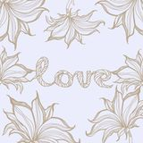 Sinal do amor com flores Ilustração desenhada mão Imagens de Stock Royalty Free