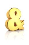 sinal do Ampersand do ouro 3D Fotos de Stock