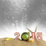 Sinal do ano novo 2015 com a bola das conchas do mar, da estrela do mar e do Natal Fotografia de Stock