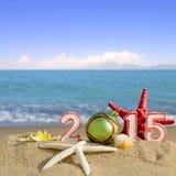 Sinal do ano novo 2015 com a bola das conchas do mar, da estrela do mar e do Natal Fotografia de Stock Royalty Free