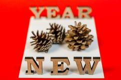 Sinal do ano novo das letras de madeira Fotos de Stock Royalty Free