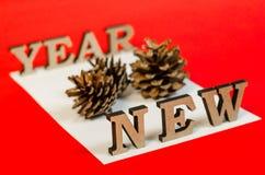 Sinal do ano novo das letras de madeira Imagem de Stock