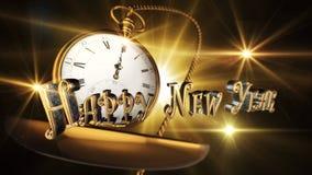 Sinal do ano novo feliz com meia-noite impressionante do relógio de bolso do vintage Imagens de Stock