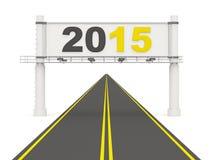 Sinal do ano 2015 novo na estrada Imagens de Stock Royalty Free
