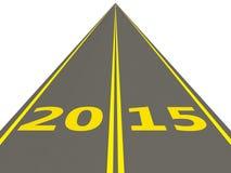 Sinal do ano 2015 novo na estrada Imagem de Stock Royalty Free